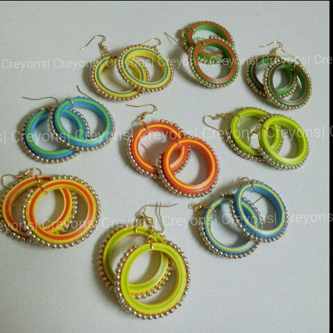 Quilling Earrings Designs Using Comb : Traditional Quilled hoop Earrings Creyons Pinterest Traditional, Quilling and Paper quilling