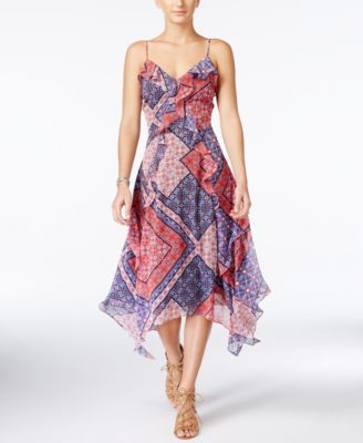 Jessica Simpson Valencia Printed Handkerchief-Hem Dress
