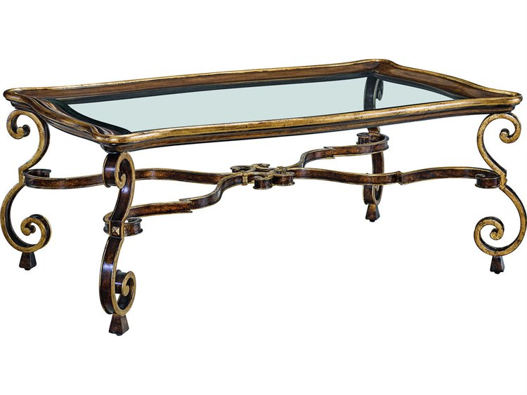 Carson Aria Clear Brown Aged Gold 50 Wide Rectangular Coffee Table In 2021 Rectangular Coffee Table Glass Top Coffee Table Coffee Table