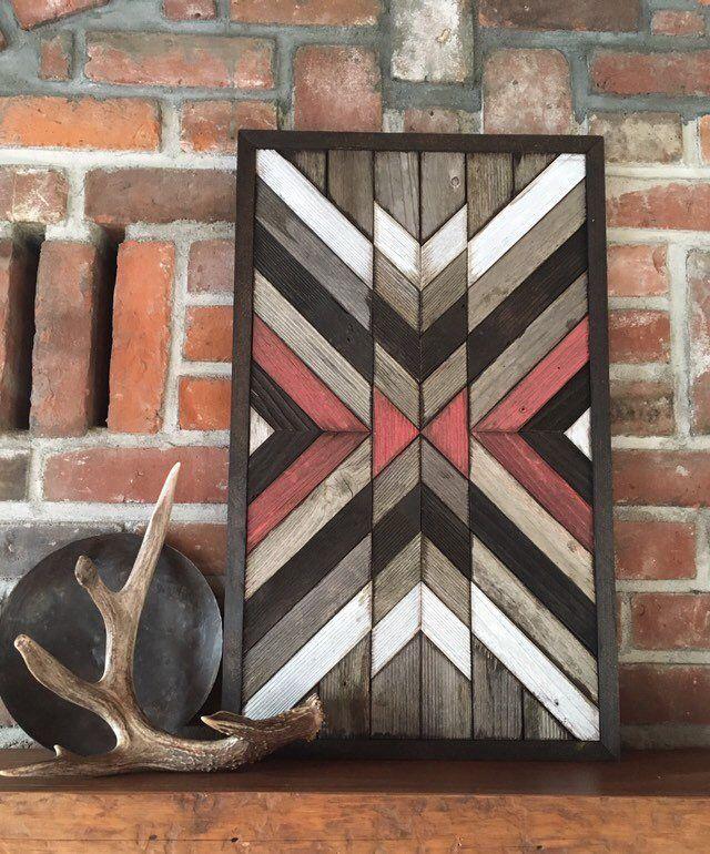 DESERT - Reclaimed wood wall art - Southwestern wood wall art - Navajo aztec inspired