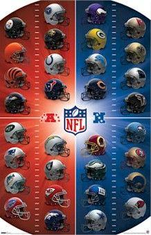 Image Detail For Nfl Afc Nfc Team Helmets Football Poster Nfc