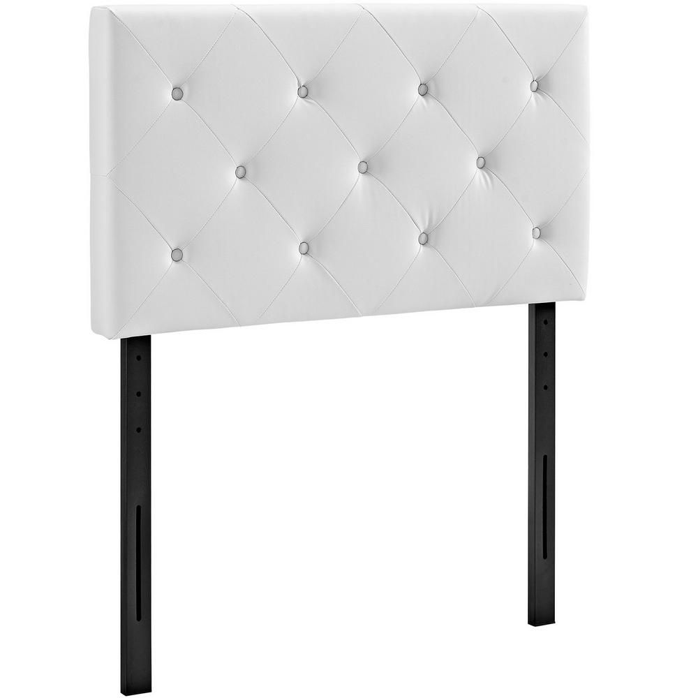 Terisa White Twin Upholstered Vinyl Headboard