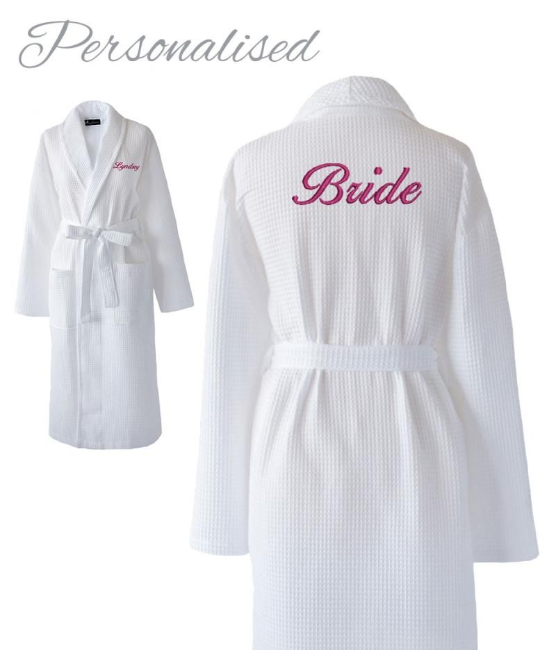 Personalised Bride White Waffle Dressing Gown for your Wedding ...