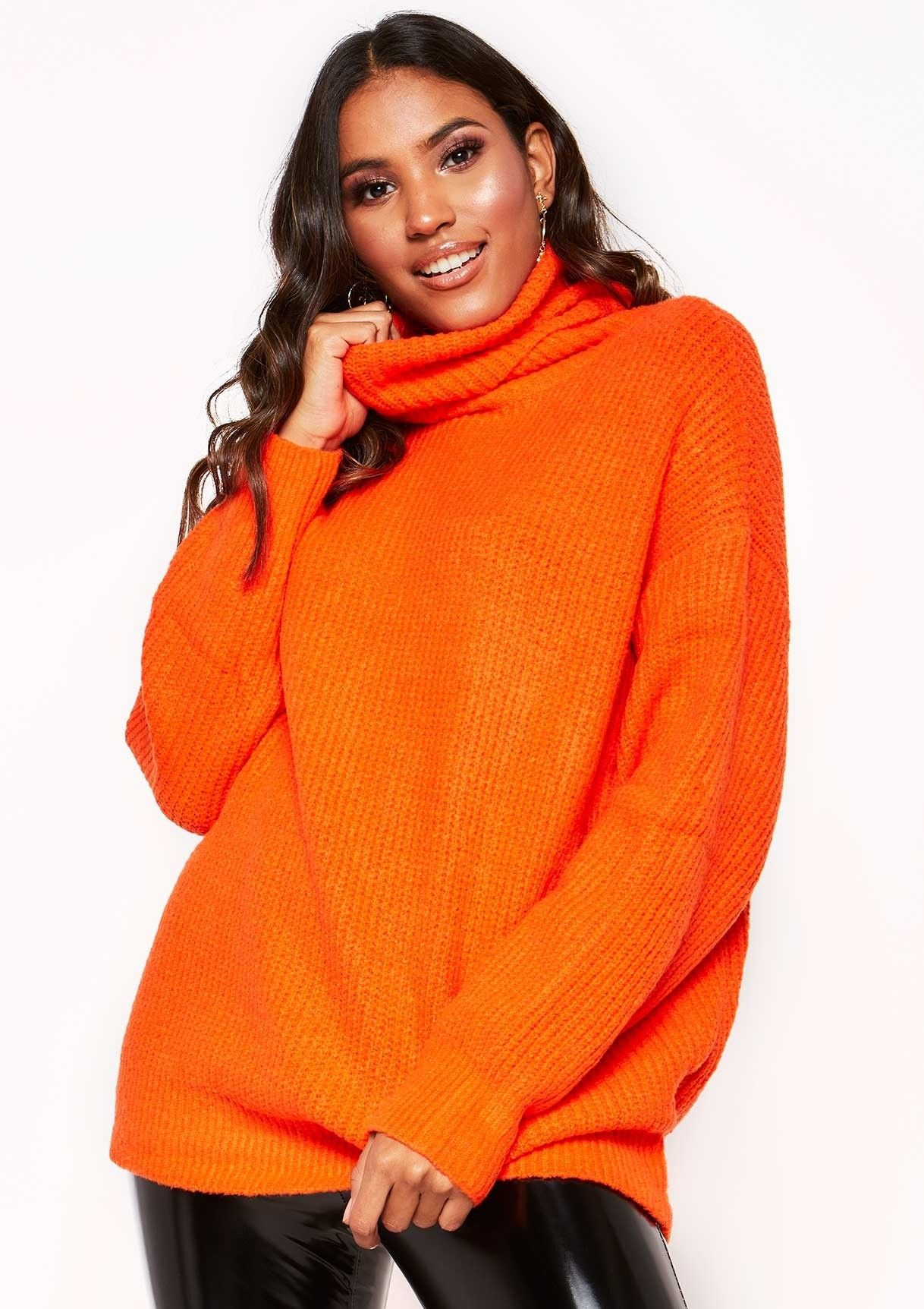 18ef4dd00c Missyempire - Tamarah Neon Orange Roll Neck Oversized Knit Jumper ...