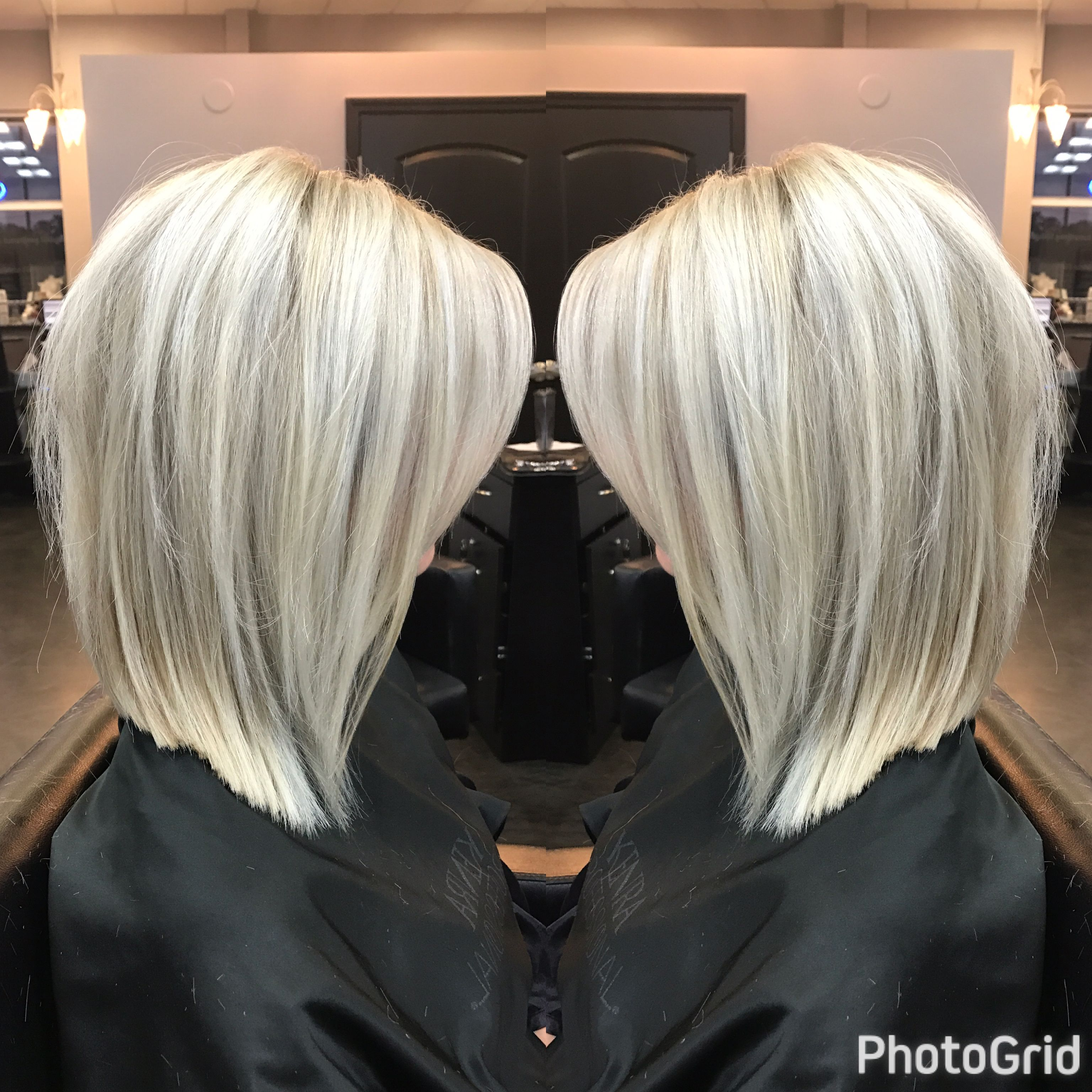 Light Blonde Highlights And Long Bob Haircut By Geneva Rygel