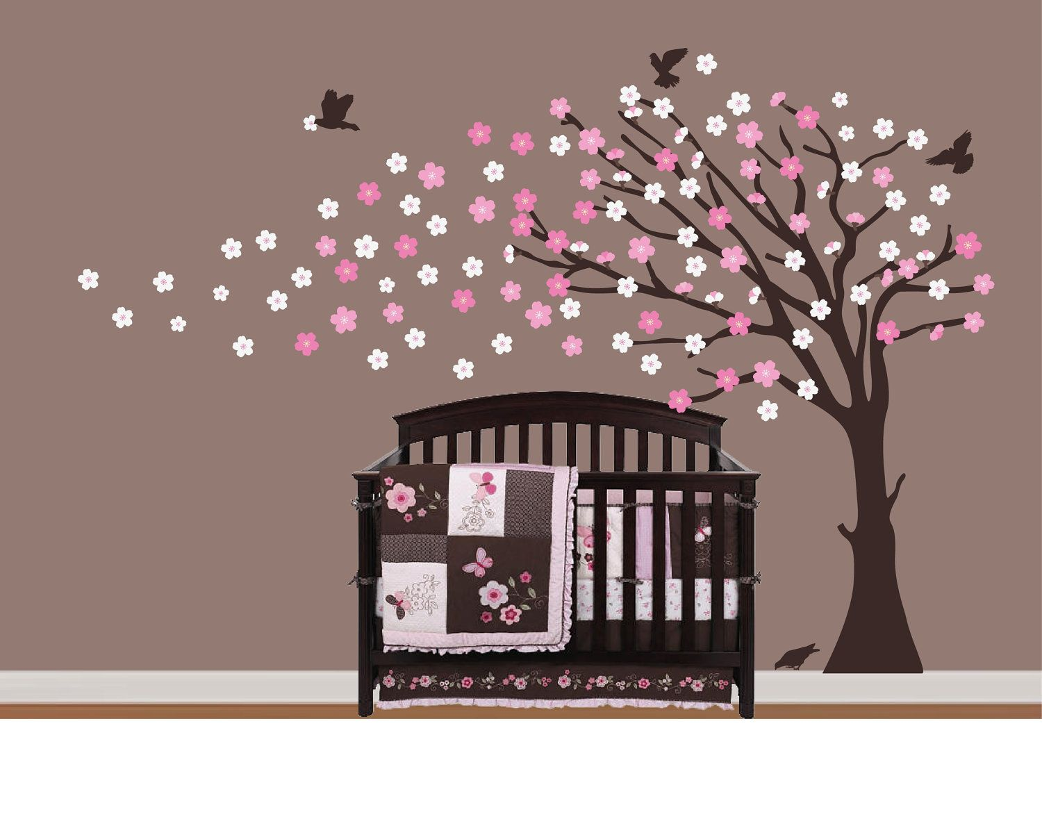 Cherry Blossoms Tree Vinyl Designs On Your Wall Decor Beautiful Home Business Vinyl Baby Nursery Wall Decals Colorful Baby Nursery Nursery Wall Decals