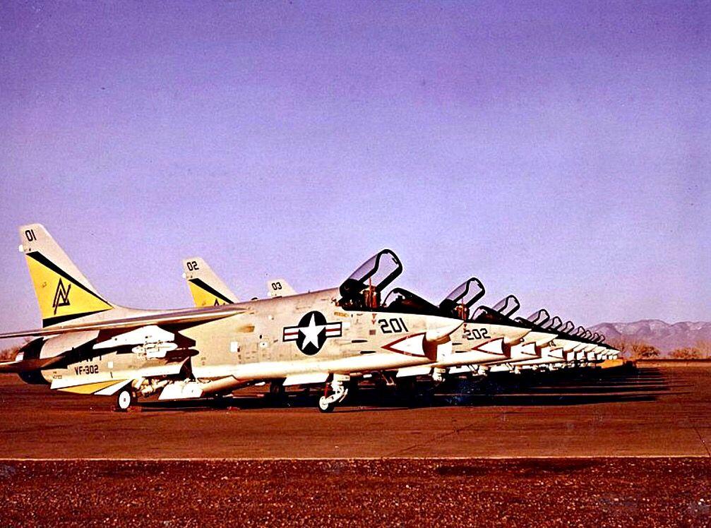 "USN Reserve Squadron F-8K Crusaders of VF-302 ""Stallions"