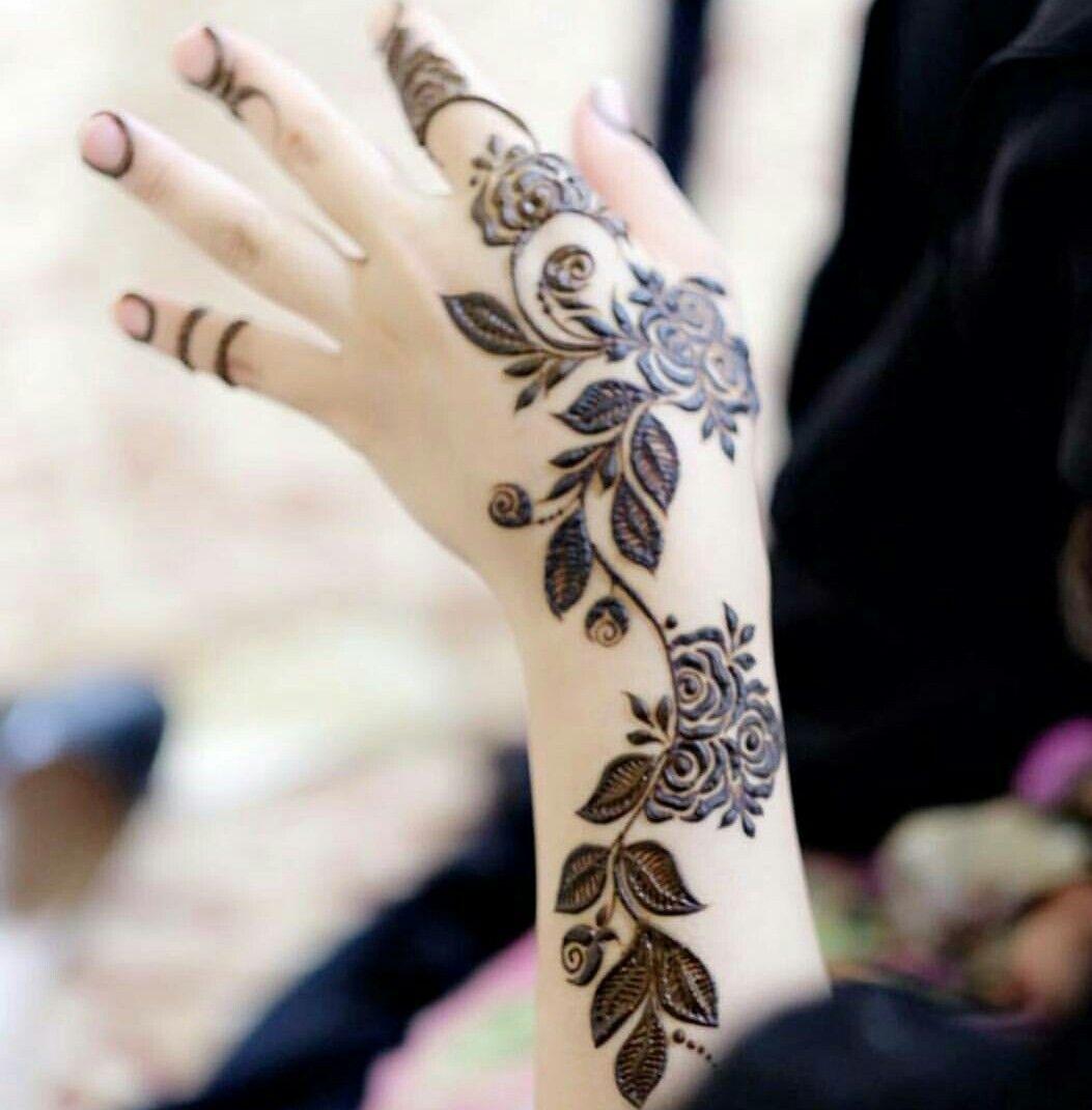 Rose Vine Henna Design Arabic Henna Designs Henna Hand Henna