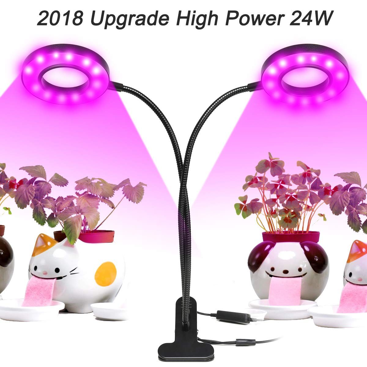 Dual Led Grow Light Desk Lamp 24w 48 Leds Dimmable 5 Levels Plant Lamp With Adjustable 360 Degree Goosenecka Grow Lights For Plants Led Grow Lights Grow Lights