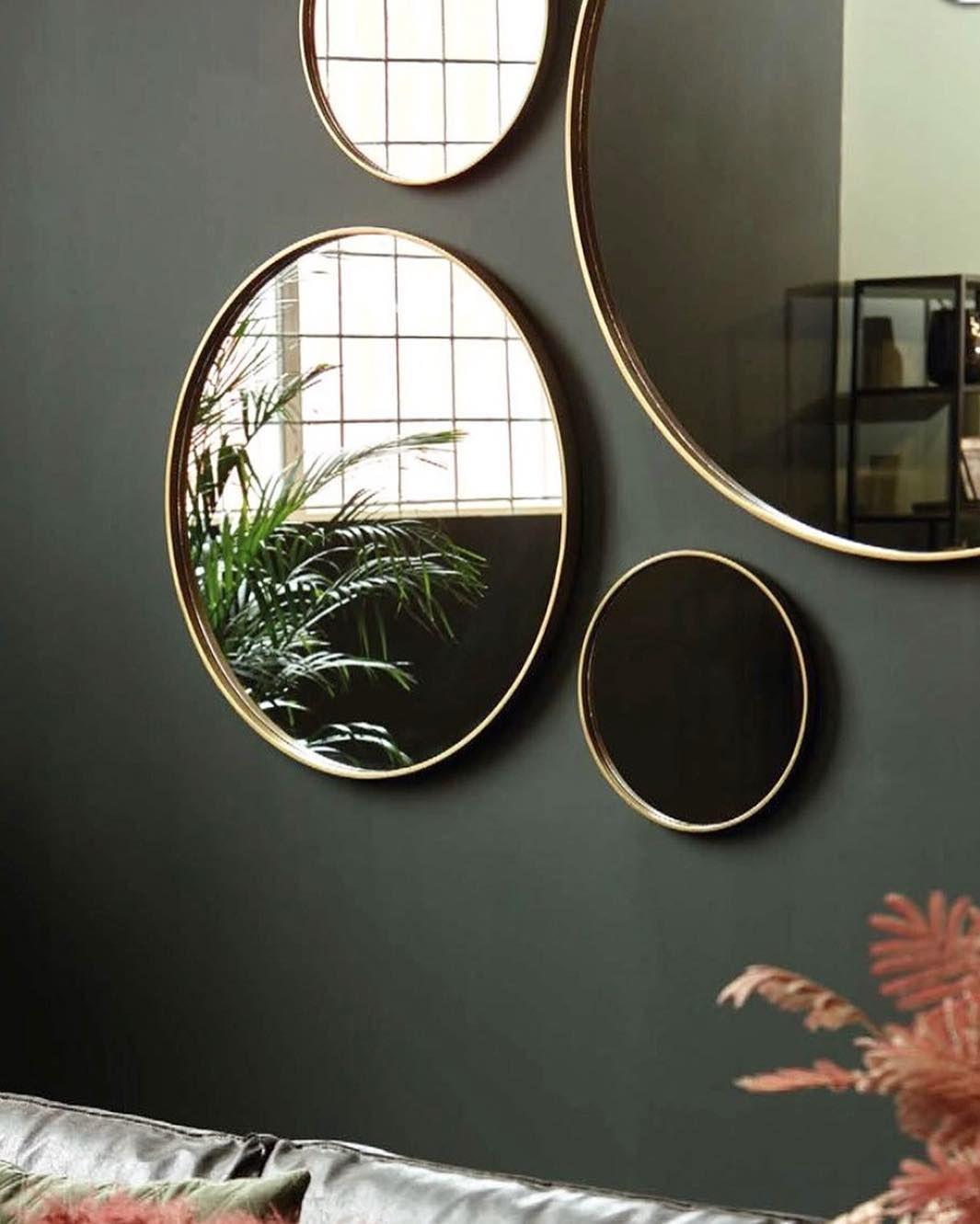 Runde Speil Med Antikk Messing Ramme Størrelser Fra 22 Cm Til 100