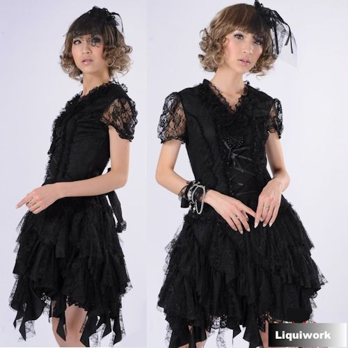 17eec24e4a18 Black Lace V Neck Burlesque Goth Party Event Cosplay Dress Clothing  SKU-11402291