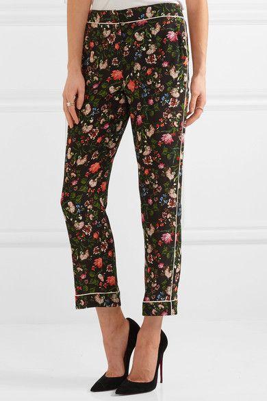 Erdem - Giulia Floral-print Silk Crepe De Chine Slim-leg Pants - Black - UK16