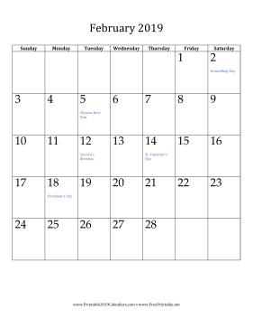 Calendar February Verticle 2019 February 2019 Calendar (vertical) Calendar   Young ♥ Women
