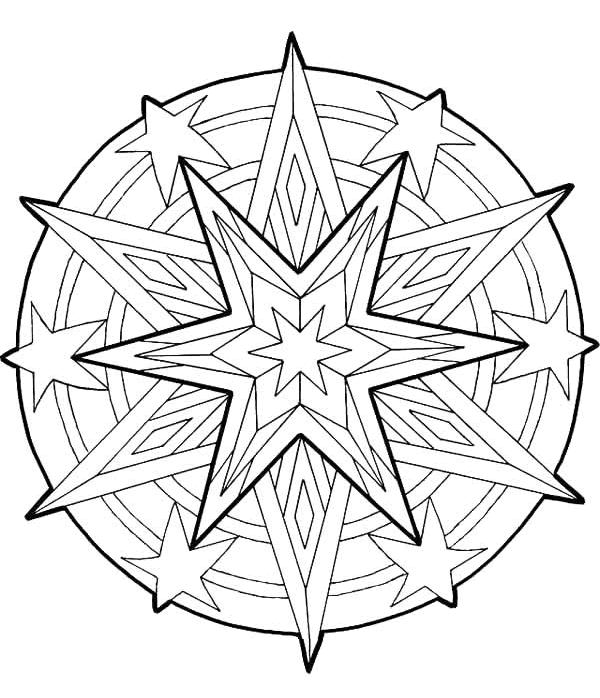 Mandala Star Ornament Coloring Pages