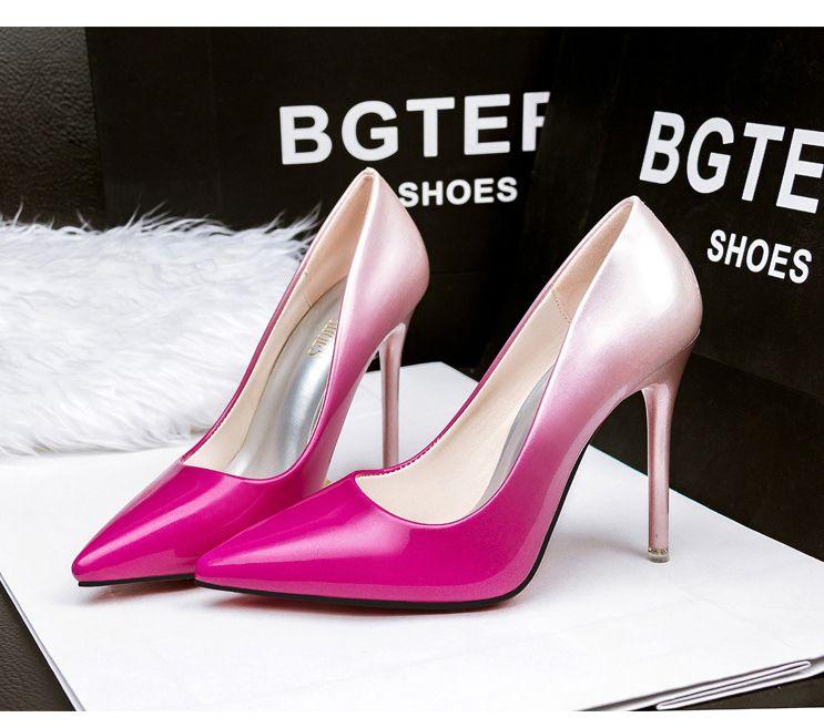 Women pumps Fashion gradient color Women High heels shoes patent leather  wedding shoes WOMEN SHOES SIZE WOMEN USA SIZE European/RU China Brazil UK  SIZE ...