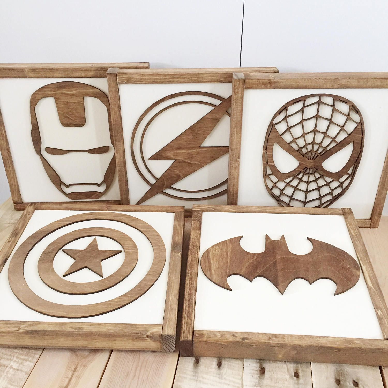 Superhero Sign- Walnut Stain- Superhero Wall Art- Boys Bedroom Decor- Neutral Nursery Decor- Superhero Nursery- Kids Bedroom Decor  sc 1 st  Pinterest : diy wall art for guys - www.pureclipart.com