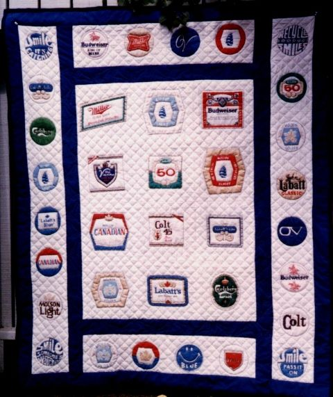 Beer label wall hanging hand painted and hand quilted   Quilting ... : quilted by labels - Adamdwight.com