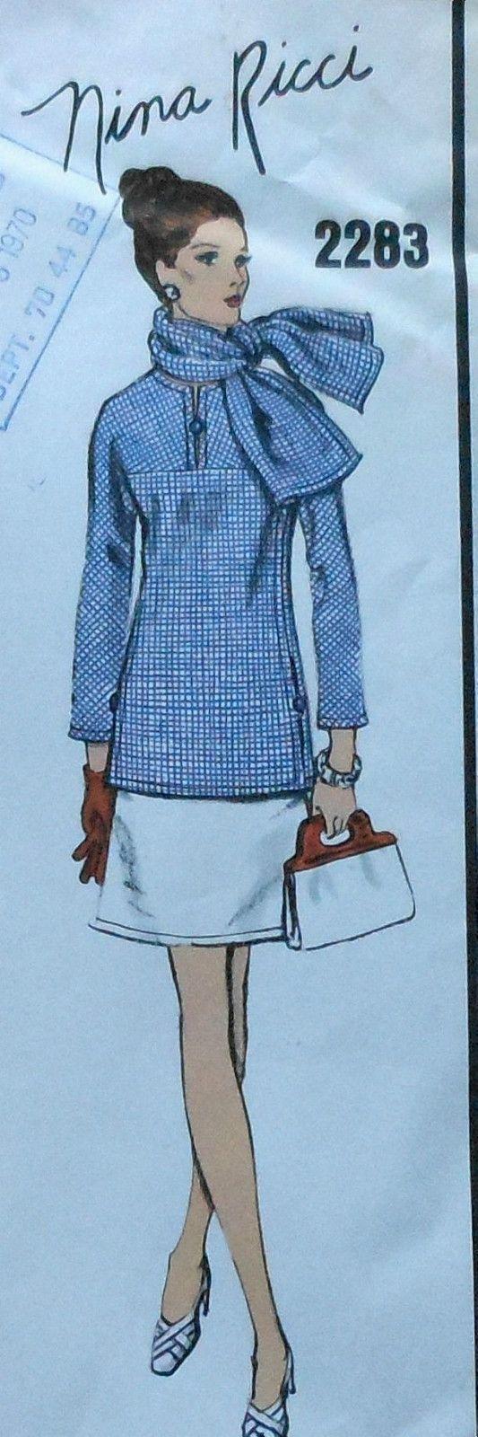Vintage 60\'s Vogue Paris Original NINA RICCI Dress & Scarf Sewing ...