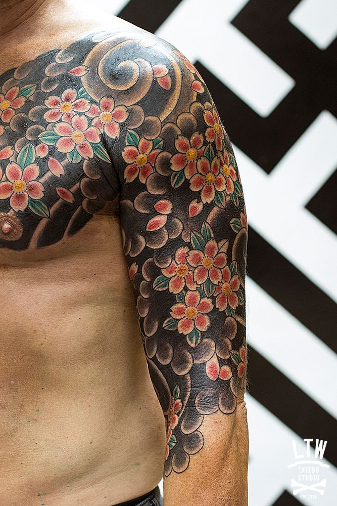 Japanese style half sleeve and chest plate of cherry for Japanese style chest tattoos