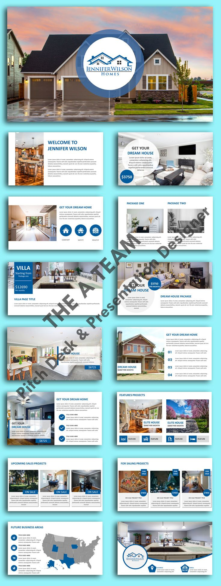 PowerPoint real estate investor pitch deck template design