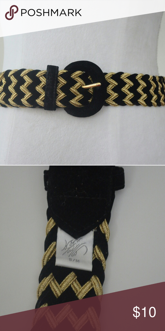 Lord & Taylor Vintage 80s Gold Black Woven Belt Excellent vintage condition   Size s/m  Length 36 Width 1.5  Ships same business day Lord & Taylor Accessories Belts