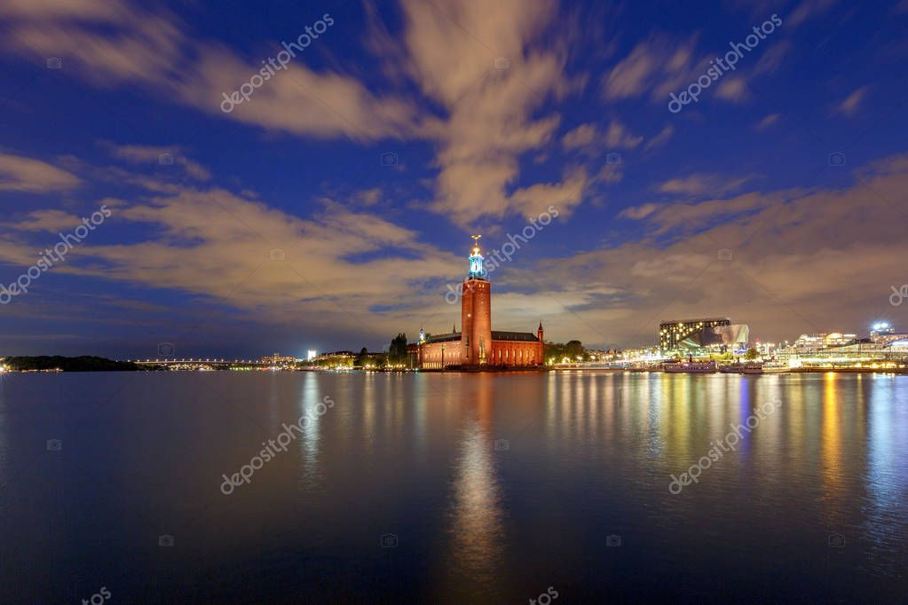 Stockholm. City Hall on the sunset. - Stock Photo , #AD, #Hall, #City, #Stockholm, #Photo #AD