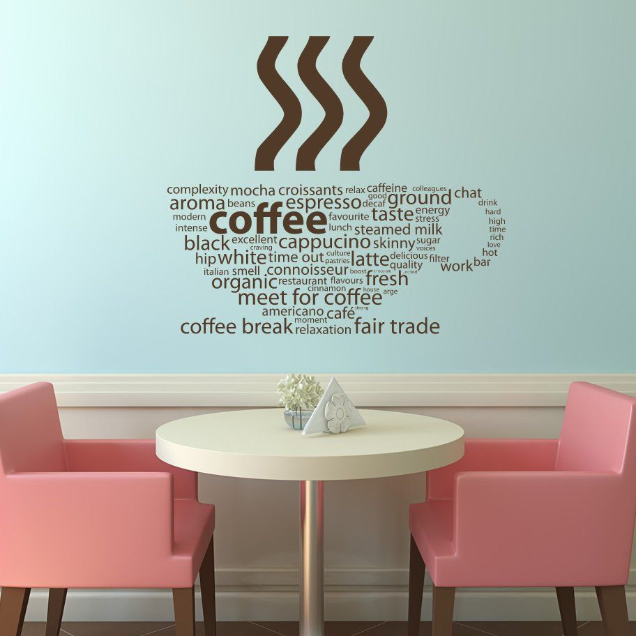 Coffee Types Kitchen Cafe Wall Decals Art Stickers Transfers Decor Home Round