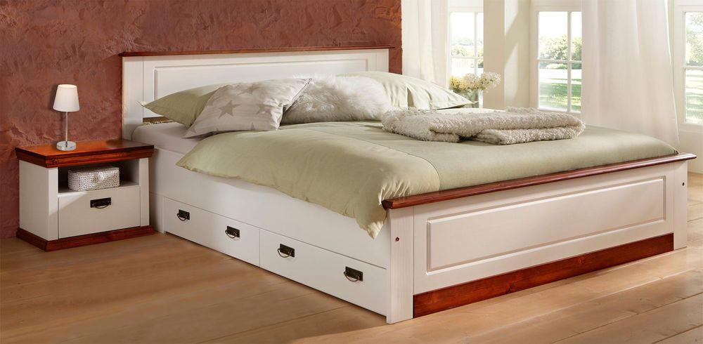 Doppelbett Bett Landhaus Kiefer Massiv weiß / kirschbaum