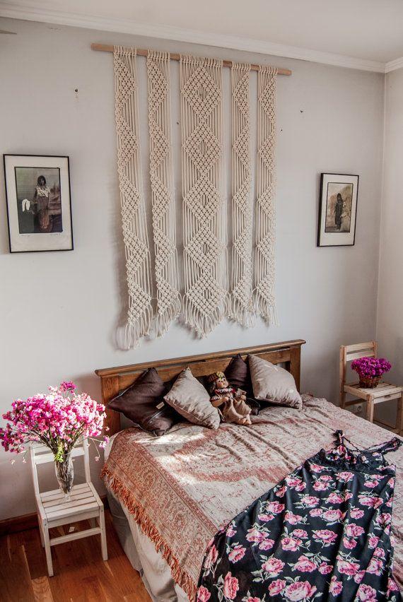 Large macrame wall hanging, woven wall art, dorm room wall ...