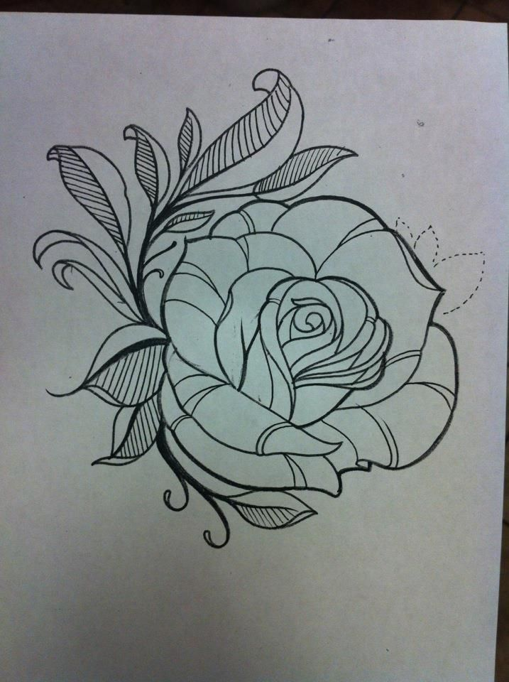 By Travis Brown Flower Outline Tattoo Flower Tattoo Drawings Flower Outline