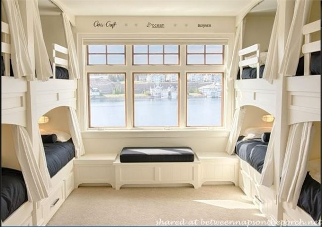 A Waterside Home With Great Beach House Style Bunk Beds Built In Bunk Rooms Home