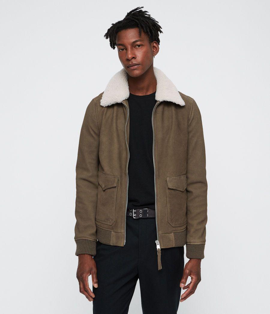 Mens Reed Nubuck Aviator Coat Mink Grey Image 4 Leather Jacket Men Biker Jacket Men [ 1044 x 900 Pixel ]