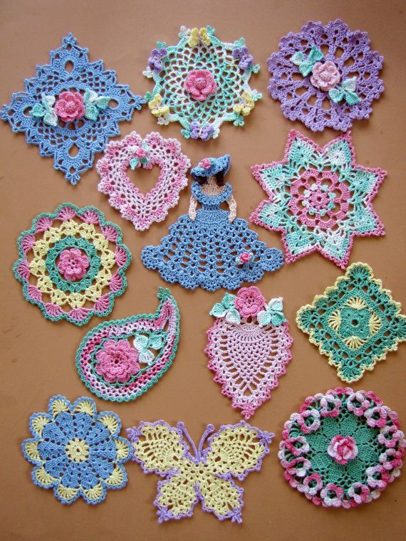 PDF Crochet Pattern- Dainty Little Doilies (13 different designs ...