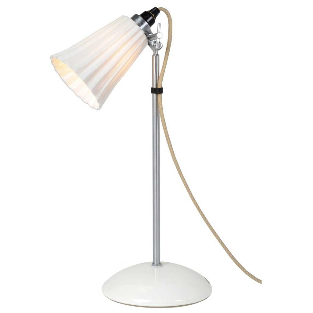 The Classic Desk Lamp Has Been Re Invented Featuring A Luxurious Pleated Bone China Shade In A Crisp White The Hector Table Lamp Made In England Is Availabl