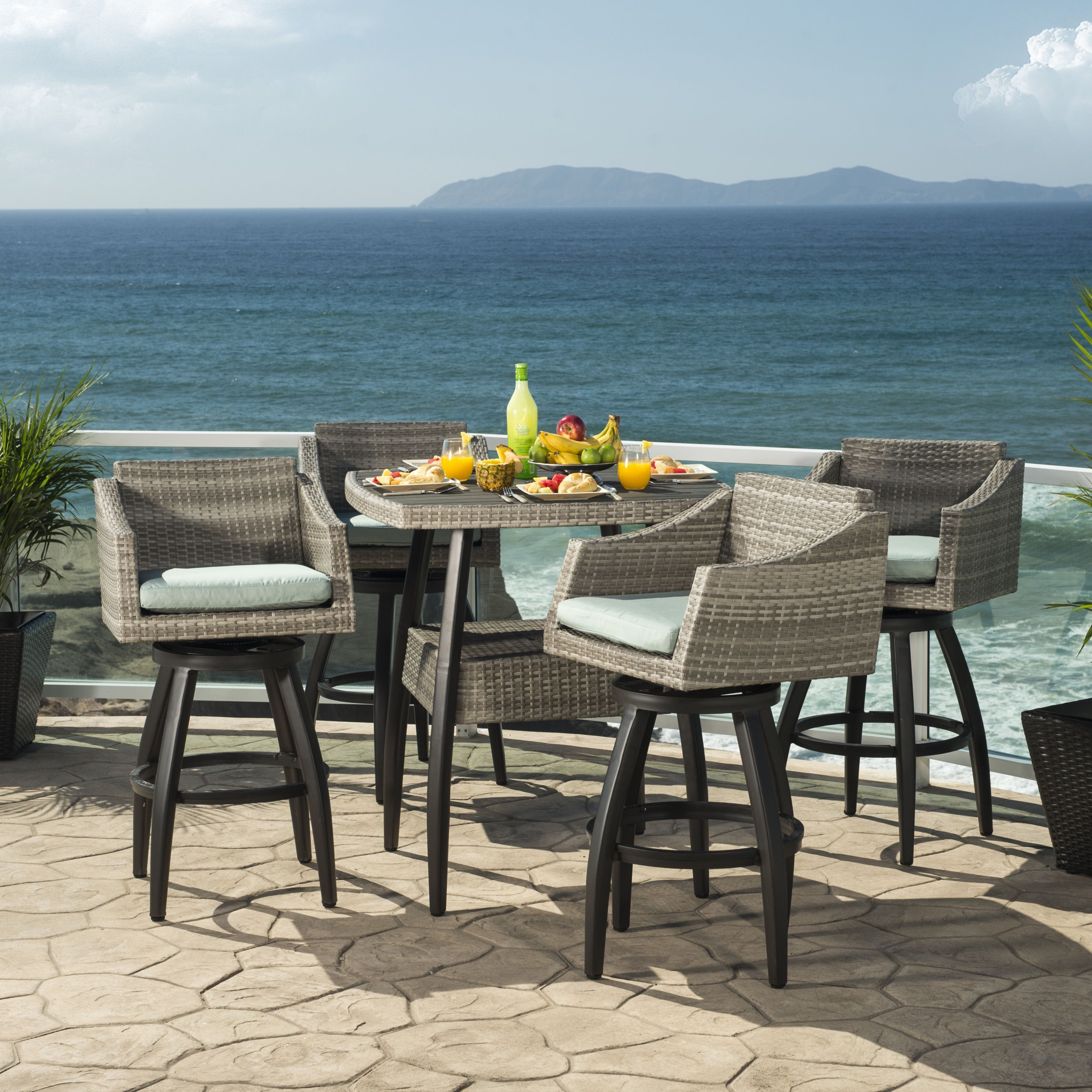 RST Brands Cannes Spa Blue Outdoor Bar Stools and Table 5 piece