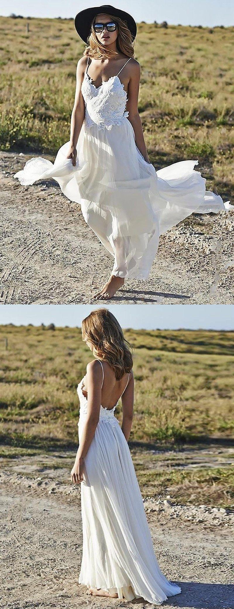 A-linie Spaghettiträger Rückenfrei Strand Hochzeitskleid mit