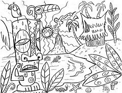 Tiki Tony Coloring Page Tikitony Tags Island Hawaii Book