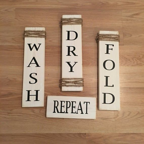 Rustic Set of 4 White Wooden Laundry Room Signs Wash Dry Fold Repeat