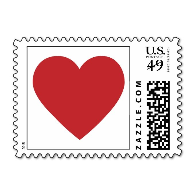 Red Heart Wedding Love Stamps