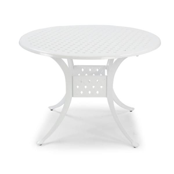 Homestyles La Jolla Cast White Round Aluminum Outdoor Dining Table 5550 30 The Home Depot Outdoor Dining Table Patio Furniture Chairs Aluminum Patio Furniture White round patio table