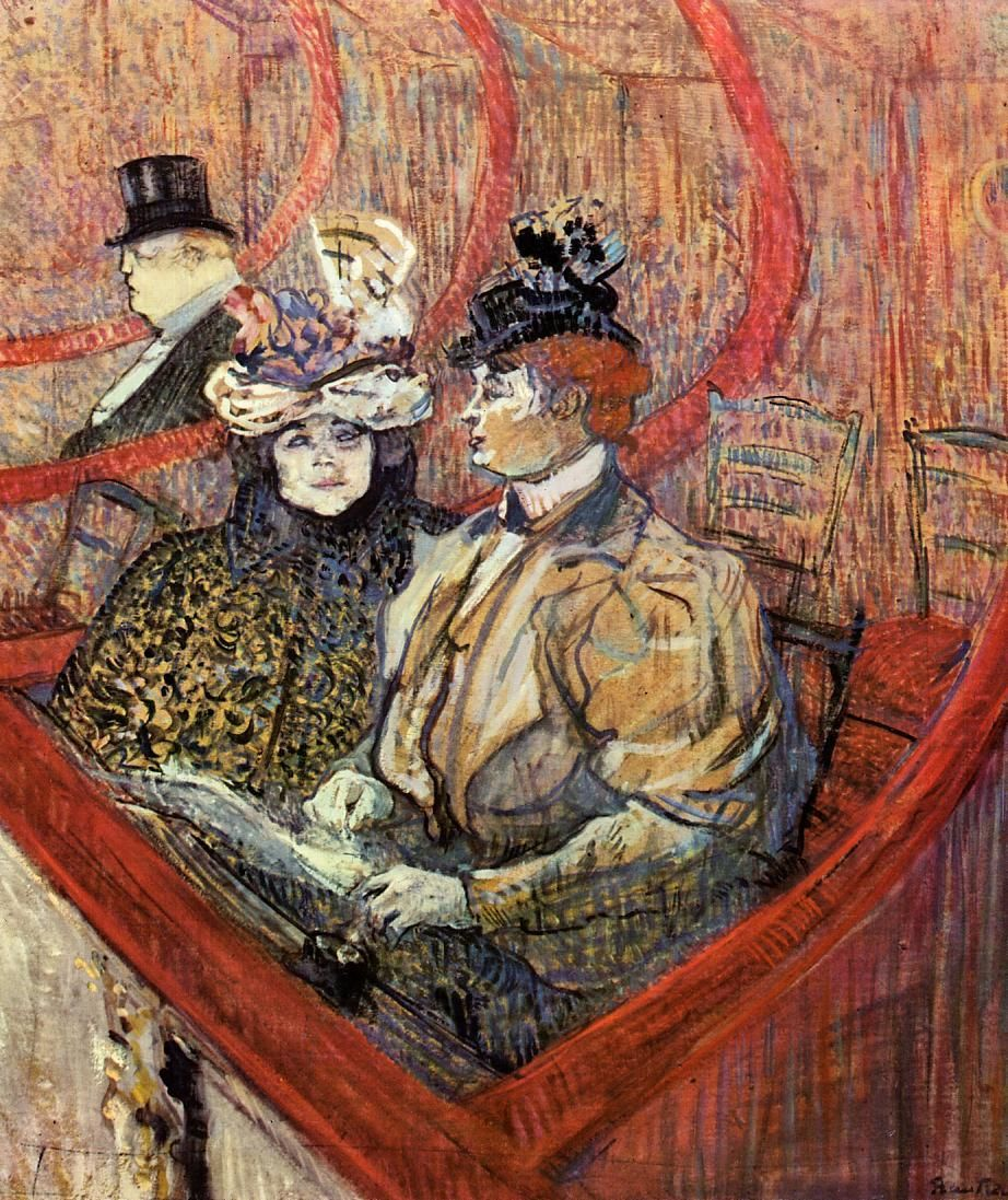 The Grand Tier - Henri de Toulouse-Lautrec. Throughout his career, which spanned less than 20 years, Toulouse-Lautrec created 737 canvases, 275 watercolours, 363 prints and posters, 5,084 drawings, some ceramic and stained glass work, and an unknown number of lost works. His debt to the Impressionists, in particular the more figurative painters Manet and Degas, is apparent.