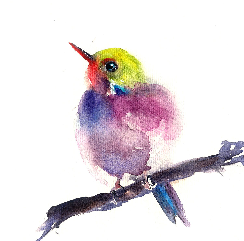 Bird Watercolor Original Painting Colourful Bird Painting Bird