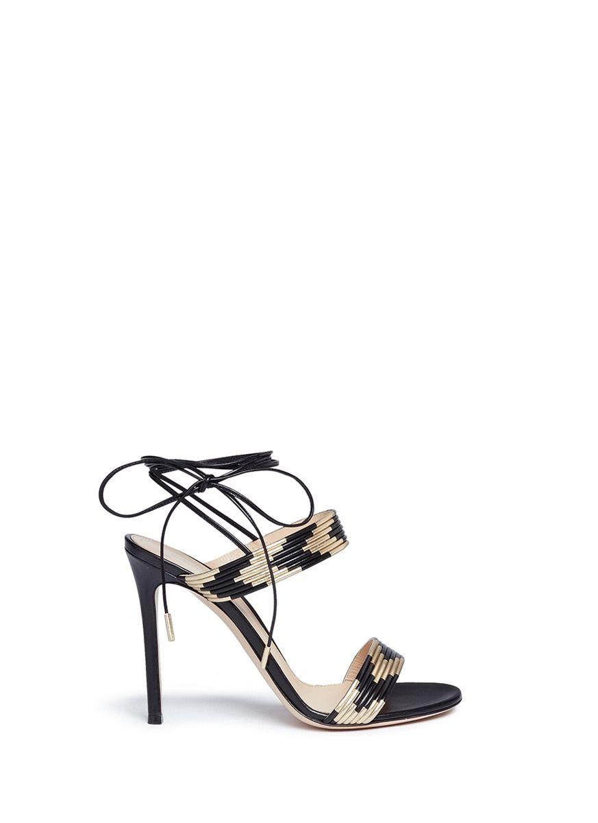 GIANVITO ROSSI 'Suni' Ankle Tie Piped Metallic Leather Sandals. #gianvitorossi #shoes #sandals