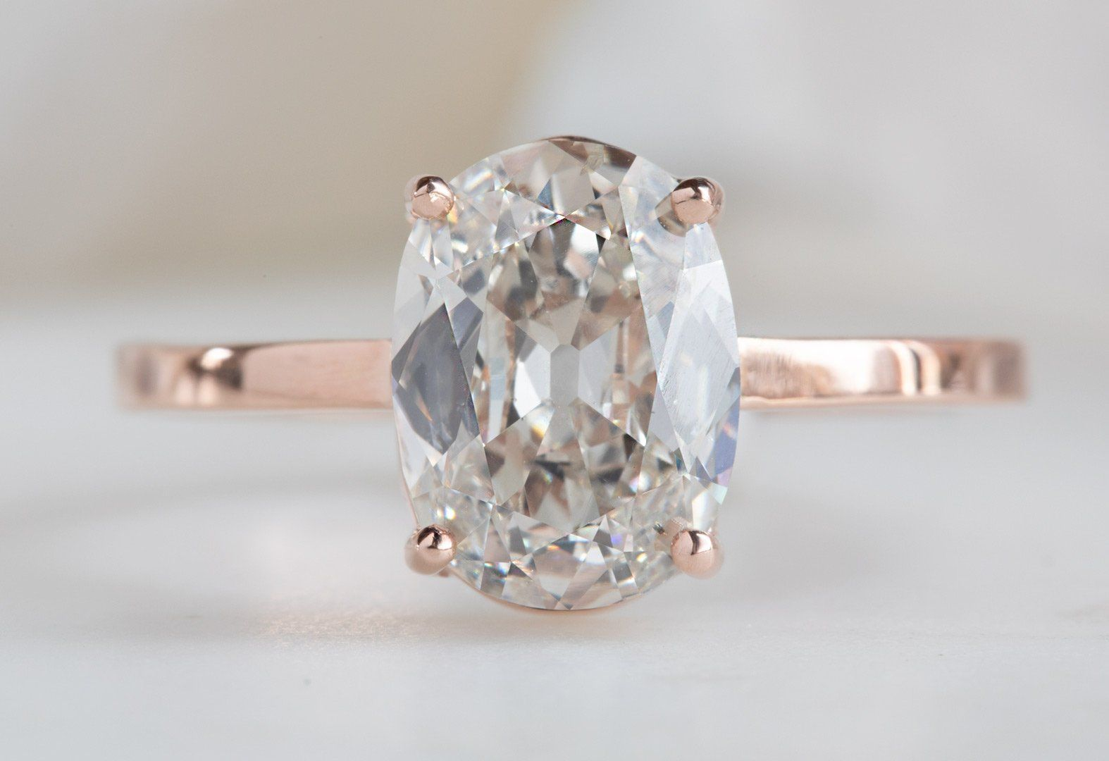 One of a Kind Pale Pink Old Mine Cut Diamond Engagement Ring - Engagement ring diamond cut, White diamond rings engagement, Diamond cuts, Rose gold engagement ring, Engagement rings, Pretty engagement rings - stacking bands shown are available here