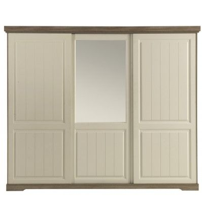 Sublime armoire à 3 portes coulissantes coloris blanc et taupe ! Sa - porte d armoire coulissante