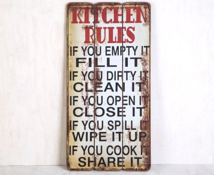 Wooden 60 X 30cm Wall Plaque Kitchen Rules