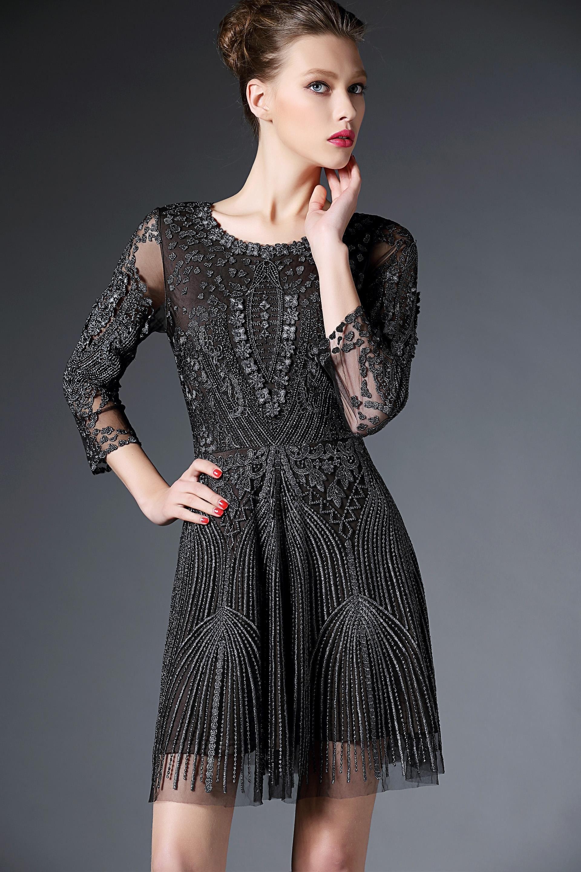 Formal Dresses 2015 Leililai Hollow Lace Party Dress A Line Jewel ...