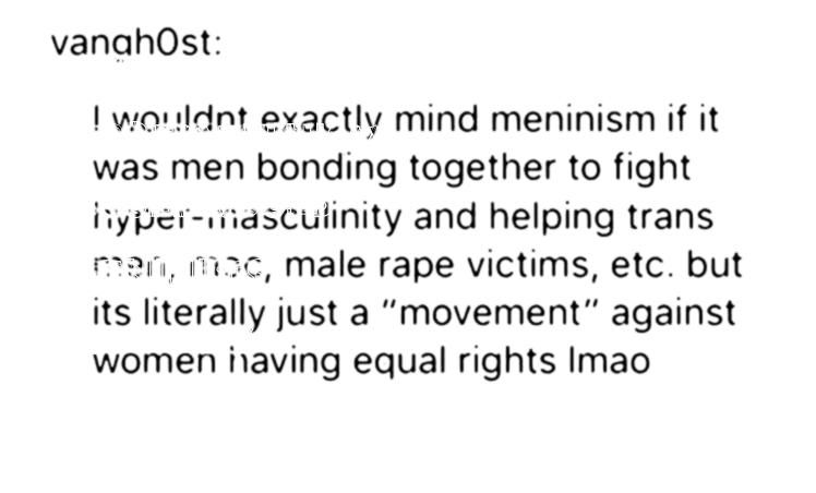 if it were like that Yes it would As long as it didnt oppose feminism Meninists and feminists if thats what meninists are could fight more human rights togetherMeninism w...