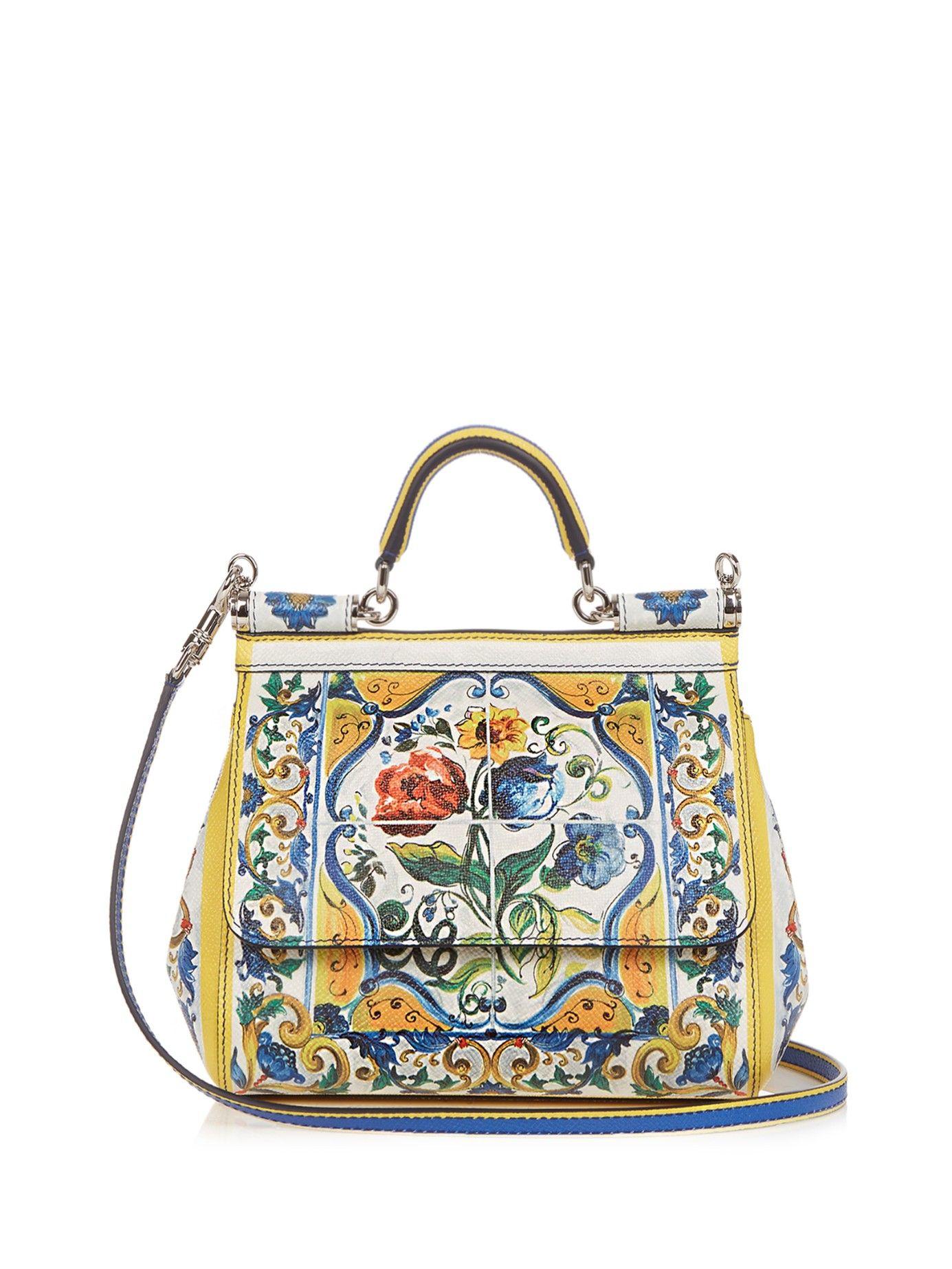 6ef1349483 Lyst - Dolce & Gabbana Sicily Small Majolica-print Leather Cross-body Bag