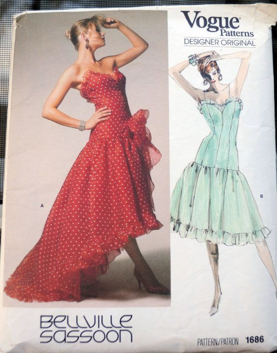 a84b1aa137b Vogue 1686 - Bellville Sassoon Totally 80s Prom Dress or Evening Gown -  Drop Waist